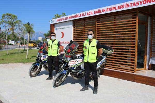 Konyaaltı Sahili'nde Artık 112 Motosikletli Acil Sağlık Ekipleri Hizmet Veriyor